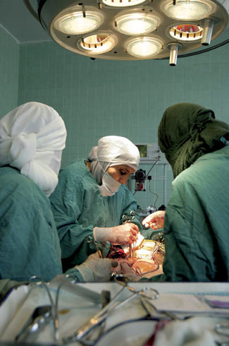 Sana'a, Yemen, 2004 - Dr. Amat performs surgery at women's and children's hospital.